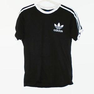 Adidas Shirt 3 Stripe Short Sleeve Medium Black